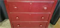 Vintage style wood 5 drawer chest of drawers
