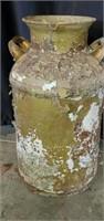 Vintage Olive Green Cast Iron Handled Milk Jug