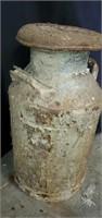 Vintage Cast Iron Handled Milk Jug & Lid