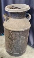 Vintage Black Cast Iron Handled Milk Jug & Lid