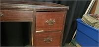 Vintage wood 7 drawer desk