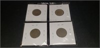 Lot of 4 V-Nickels with various dates