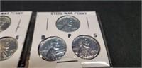 Lot of 6 1943 Steel War Pennies
