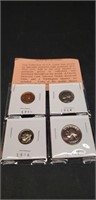 Lot of 4 various years coins