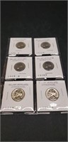 Lot of 6 Brilliant uncirculated Jefferson nickels