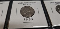 Lot of 8 Old Jefferson Nickel various years