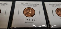 Lot of 8 Brilliant Uncirculated old licoln cents
