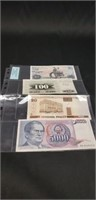 Lot of 4 Foreign paper money