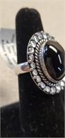 Beautiful German Silver Black Onyx Ring size 7
