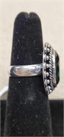 Beautiful German Silver Emerald Ring size 6