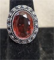 Beautiful German Silver Garnet Ring size 9
