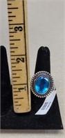 Beautiful German Silver Blue Topaz Ring size 9
