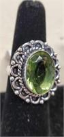Beautiful German Silver Green Amethyst Ring size 7