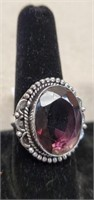 Beautiful German Silver Amethyst Ring size 8