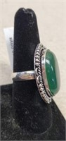 Beautiful German Silver Green Onyx Ring size 9