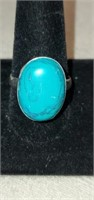 Beautiful German Silver Turquoise Ring Size 11.5
