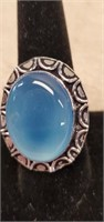 Beautiful German Silver Blue Calci Ring size 9