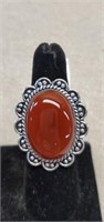 Beautiful German Silver Red Onyx Ring size 8