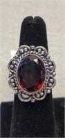 Beautiful German Silver Garnet Ring size 6
