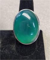 Beautiful German Silver Green Onyx Ring size 10