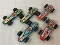 Tin vintage lithograph race cars