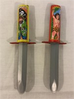 Tin vintage retractable knives