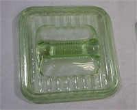 Green Depression refrigerator dish butter lid lot