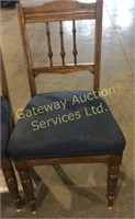 4 Wooden Chairs with Padded Seats