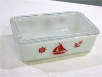 """Mckee Red Ships Refer Dish 8"""" Long 5"""" Deep 2.5 T"""