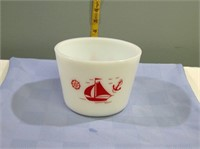 """Mckee Red Ships Canister No Lid 6"""" Round 4.5""""T"""