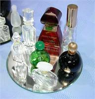 Vintage Miniature Perfume Bottles & Mirror Trays
