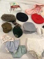 Collection of vintage doll accessories, hats