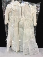 Antique white doll dress c1880-1890