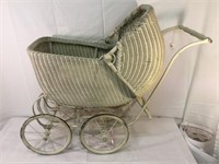Wicker antique doll buggy,