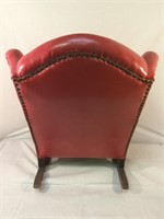 Red leather rivited childrens rocking chair