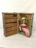 Metal vintage doll trunk w/doll & accessories
