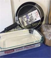 Pyrex Glass Baking Dishes, Bamboo Utensil Set,