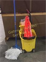 Industrial Scrub Bucket and Mops, Wet Floor Pylons
