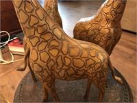 Giraffe Base Glass Top Table w/Lamp