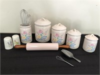 Floral Themed Ceramic Canister Set & More