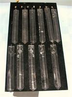 "Vintage 11 Clear Glass Prisms 6"" Long"