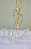 """Vintage Etched Crystal Decanter 16"""" Tall 8 Pcs."""