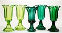 Rare colored flint tulip vases