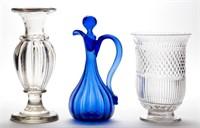 Fine blown-molded wares including rare pillar-molded vase