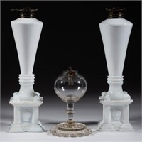 Sample of whale oil lighting, the pair signed to base interior for the New England Glass Co.