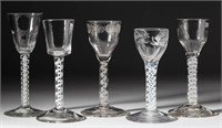 Large collection of English & Continental wine glasses including opaque- and colored-twist stems - Blaker collection