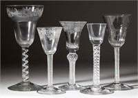 Large collection of English & Continental wine glasses including air-twist stems - Blaker collection
