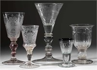 Large selection of American and European drinking vessels including a cut goblet with 1838 & 1843 US silver half dimes in knop