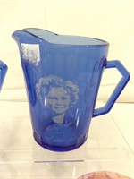 Shirley Temple cobalt blue pitchers & more