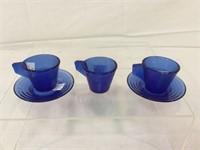 Cobalt blue vintage childrens juice set